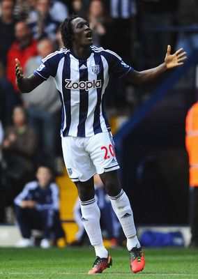 WEST BROMWICH, ENGLAND - SEPTEMBER 22:  Romelu Lukaku of West Bromwich Albion celebrates scoring the opening goal during the Barclays Premier League match between West Bromwich Albion and Reading at The Hawthorns on September 22, 2012 in West Bromwich, En