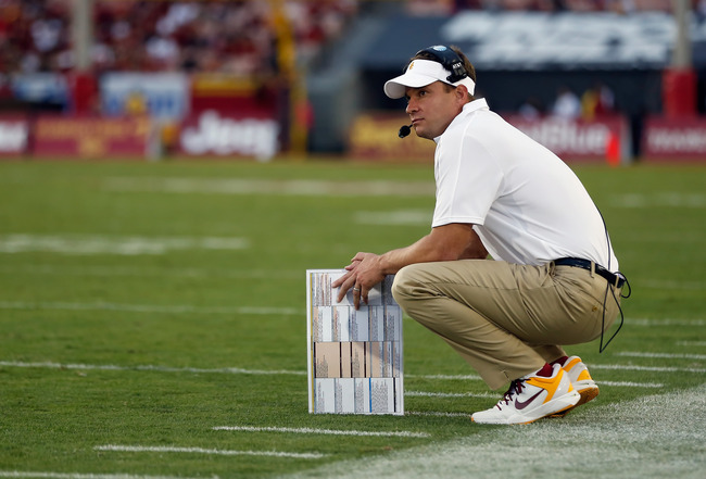 LOS ANGELES, CA - OCTOBER 20:  USC Trojans head coach Lane Kiffin looks on against the Colorado Buffaloes at Los Angeles Memorial Coliseum on October 20, 2012 in Los Angeles, California.  (Photo by Jeff Gross/Getty Images)