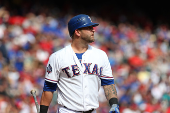 Texas Rangers catcher Mike Napoli was one of dozens of players who automatically became a free agent on Monday.
