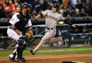 Ryan Theriot scores the winning run in Game 4 of the World Series