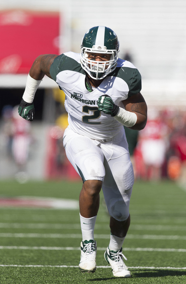 Oct 27, 2012; Madison, WI, USA;  Michigan State Spartans defensive end William Gholston (2) during warmups prior to the game against the Wisconsin Badgers at Camp Randall Stadium.  Mandatory Credit: Jeff Hanisch-US PRESSWIRE