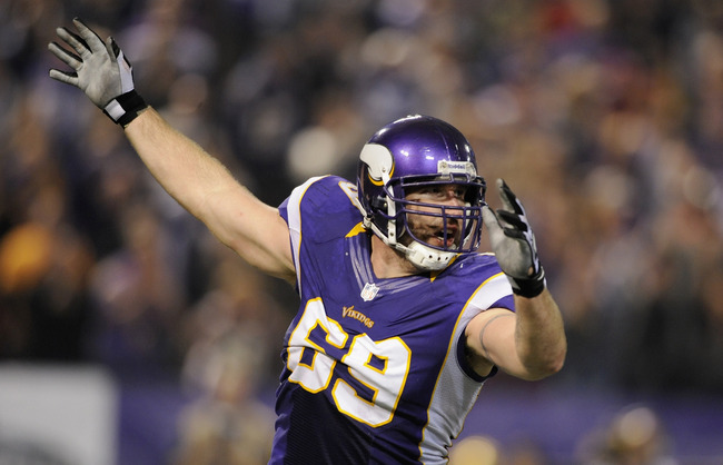 MINNEAPOLIS, MN - OCTOBER 25: Jared Allen #69 of the Minnesota Vikings celebrates a sack during the third quarter of the game against the Tampa Bay Buccaneers on October 25, 2012 at Mall of America Field at the Hubert H. Humphrey Metrodome in Minneapolis,