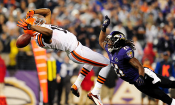 Browns WR Greg Little dropping a pass vs. Ravens