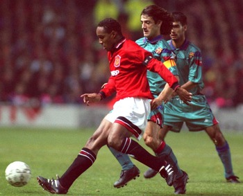Ince taking on a legendary Barcelona side in the 1994 Champions League