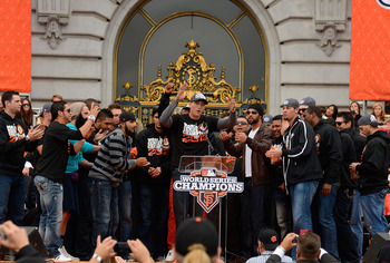 Hunter Pence leads the Giants in celebration at City Hall