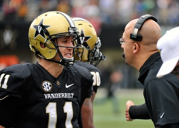 Vanderbilt QB Jordan Rodgers (left) with head coach James Franklin