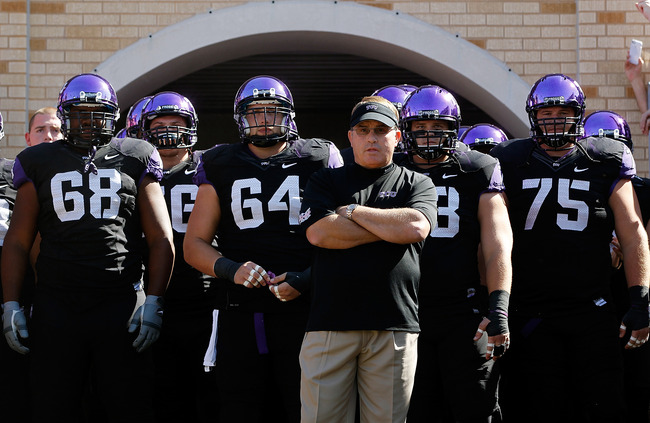 FORT WORTH, TX - OCTOBER 20:  Head coach Gary Patterson of the TCU Horned Frogs prepares to take the field with hois team to take on the Texas Tech Red Raiders at Amon G. Carter Stadium on October 20, 2012 in Fort Worth, Texas. The Texas Tech Red Raiders