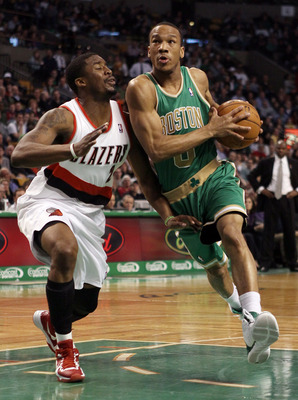 BOSTON, MA - MARCH 09:  Avery Bradley #0 of the Boston Celtics drives past Wesley Matthews #2 of the Portland Trail Blazers on March 9, 2012 at TD Garden in Boston, Massachusetts. NOTE TO USER: User expressly acknowledges and agrees that, by downloading a