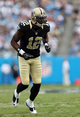CHARLOTTE, NC - SEPTEMBER 16:  Marques Colston #12 of the New Orleans Saints during their game at Bank of America Stadium on September 16, 2012 in Charlotte, North Carolina.  (Photo by Streeter Lecka/Getty Images)