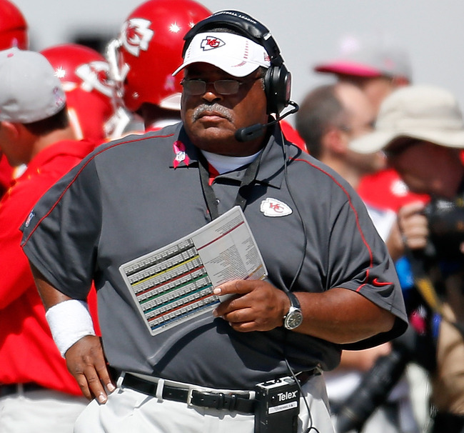 TAMPA, FL - OCTOBER 14:  Head coach Romeo Crennel of the Kansas City Chiefs directs his team against the Tampa Bay Buccaneers during the game at Raymond James Stadium on October 14, 2012 in Tampa, Florida.  (Photo by J. Meric/Getty Images)