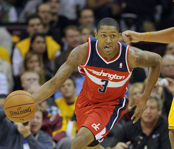 CLEVELAND, OH - OCTOBER 30: Bradley Beal #3 of the Washington Wizards drives past Anderson Varejao #17 of the Cleveland Cavaliers during the first quarter at Quicken Loans Arena on October 30, 2012 in Cleveland, Ohio. NOTE TO USER: User expressly acknowle
