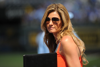 July 10, 2012; Kansas City, MO, USA; FOX reporter Erin Andrews on the field before the 2012 MLB All Star Game at Kauffman Stadium.  Mandatory Credit: Jerry Lai/USA TODAY Sports via US PRESSWIRE