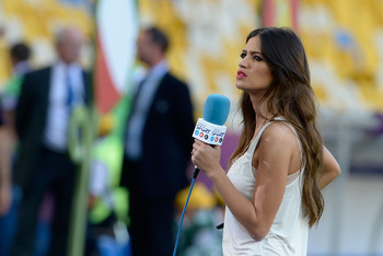 KIEV, UKRAINE - JULY 01:  TV presenter Sara Carbonero looks on prior to the UEFA EURO 2012 final match between Spain and Italy at the Olympic Stadium on July 1, 2012 in Kiev, Ukraine.  (Photo by Claudio Villa/Getty Images)