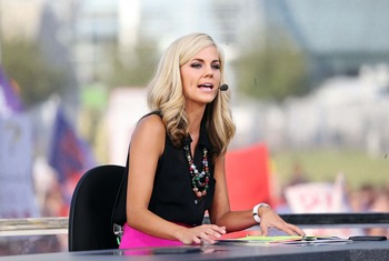 Sep 1, 2012; Arlington, TX, USA; ESPN reporter Samantha Steele on the set of ESPN College Gameday before the game between the Alabama Crimson Tide and the Michigan  Wolverines at Cowboys Stadium. Mandatory Credit: Kevin Jairaj-US PRESSWIRE