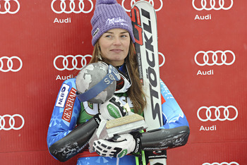 SOLDEN, AUSTRIA - OCTOBER 27: (FRANCE OUT) Tina Maze of Slovenia takes 1st place during the Audi FIS Alpine Ski World Cup Women's Giant Slalom on October 27, 2012 in Solden, Austria. (Photo by Michel Cottin/Agence Zoom/Getty Images)