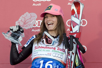 Mar 15, 2012; Schladming, AUSTRIA; Julia Mancuso (USA) celebrates on the podium after the super G race at the FIS World Cup in Schladming.  Mandatory Credit: Mitchell Gunn-US PRESSWIRE