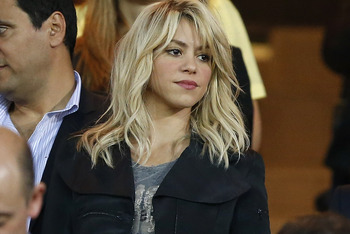 MADRID, SPAIN - MAY 25: Singer Shakira looks on prior to the Copa del Rey Final match between Athletic Bilbao and Barcelona at Vicente Calderon Stadium on May 25, 2012 in Madrid, Spain. (Photo by Angel Martinez/Getty Images)
