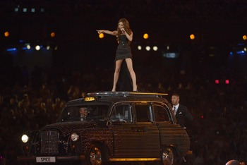 Aug 12, 2012; London, United Kingdom; Recording artist Victoria Beckham as Posh Spice performs with the Spice Girls during the London 2012 Olympic Games at Olympic Stadium. Mandatory Credit: Kirby Lee-USA TODAY Sports