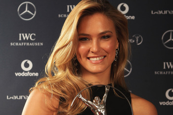 LONDON, ENGLAND - FEBRUARY 06: Model Bar Refaeli poses in the Winners Studio during the 2012 Laureus World Sports Awards at Central Hall Westminster on February 6, 2012 in London, England.  (Photo by Tom Shaw/Getty Images for Laureus)