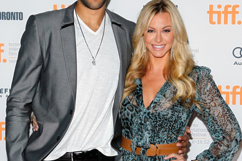 TORONTO, ON - SEPTEMBER 15:  NBA Basketball player Landry Fields (L) of the Toronto Raptors and Elaine Alden attend the 'Bad 25' Premiere during the 2012 Toronto International Film Festival held at the Ryerson Theatre on September 15, 2012 in Toronto, Can