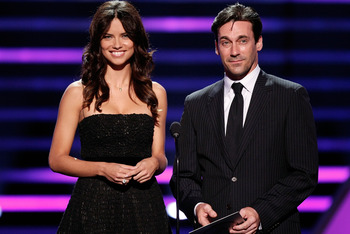 LOS ANGELES, CA - JULY 16:  Supermodel Adriana Lima and actor Jon Hamm present the award for best moment onstage at the 2008 ESPY Awards held at NOKIA Theatre L.A. LIVE on July 16, 2008 in Los Angeles, California.  The 2008 ESPYs will air on Sunday, July