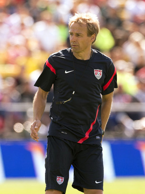 September 9, 2012; Columbus, OH, USA; USA head coach Jurgen Klinsmann watches his team during training at Columbus Crew Stadium.  Mandatory Credit: Greg Bartram-US PRESSWIRE