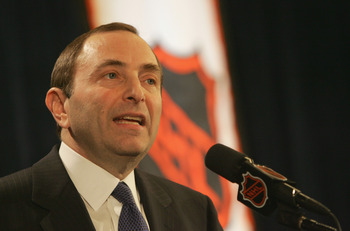 Bettman announcing in February 2005 that there would be no hockey that season.