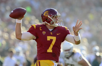 Matt Barkley's three TDs in the second quarter narrowed the Ducks' lead to 34-24.