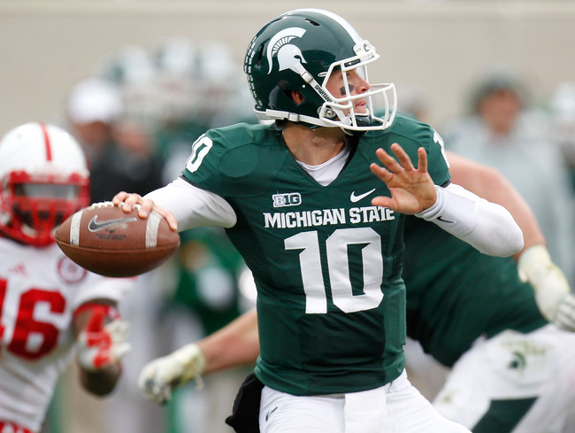 EAST LANSING, MI - NOVEMBER 03:  Andrew Maxwell #10 of the Michigan State Spartans throws a second quarter pass while playing the Nebraska Cornhuskers at Spartan Stadium Stadium on November 3, 2012 in East Lansing, Michigan. (Photo by Gregory Shamus/Getty