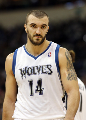 October 24, 2012; Winnipeg, MB, CAN: Minnesota Timberwolves center Nikola Pekovic (14) during the fourth quarter against the Detroit Pistons at the MTS Center. Mandatory Credit: Bruce Fedyck-USPRESSWIRE