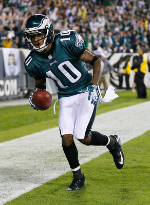 PHILADELPHIA, PA - SEPTEMBER 30: Wide receiver DeSean Jackson #10 of the Philadelphia Eagles celebrates in the endzone after catching a touchdown pass against the New York Giants during the second quarter at Lincoln Financial Field on September 30, 2012 i