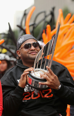 Pablo Sandoval shows off his World Series MVP trophy