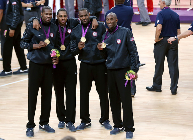 LONDON, ENGLAND - AUGUST 12:  Gold medallists Kevin Durant #5 of the United States, Carmelo Anthony #15 of the United States, LeBron James #6 of the United States and Kobe Bryant #10 of the United States celebrate following the medal ceremony for the Men'