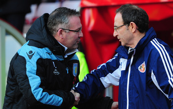 SUNDERLAND, ENGLAND - NOVEMBER 03:  Sunderland manager Martin O' Neill (r) shakes hands with Villa manager Paul Lambert before the Barclays Premier League Match between Sunderland and Aston Villa at Stadium of Light on November 3, 2012 in Sunderland, Engl