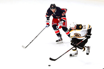 An April 2012 game between the Bruins and the Rangers.