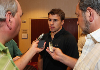 Zach Parise talks to the press at an NHLPA meeting.