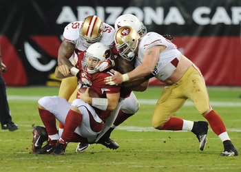John Skelton getting sacked in a game against the 49ers.