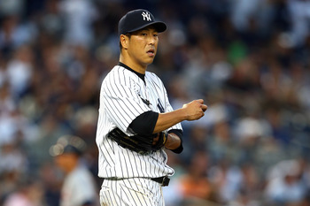 Kuroda pitching in Game 2 of the ALCS against Detroit.