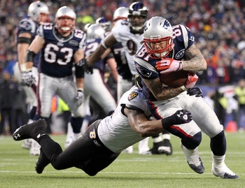 The Baltimore Ravens and New England Patriots in action during the AFC Championship Game, January 2012.