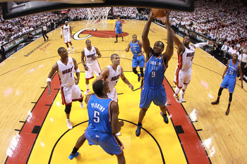 Oklahoma City Thunder and Miami Heat compete in the NBA Finals.