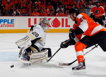 Fleury during the Penguins' playoff series against the Flyers.