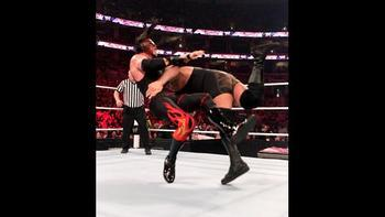 Big Show spears Kane. Photo: WWE