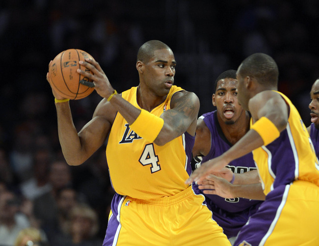 Oct 21, 2012; Los Angeles, CA, USA; Los Angeles Lakers power forward Antawn Jamison (4) during the preseason game against the Sacramento Kings at the Staples Center.  Mandatory Credit: Richard Mackson-US PRESSWIRE