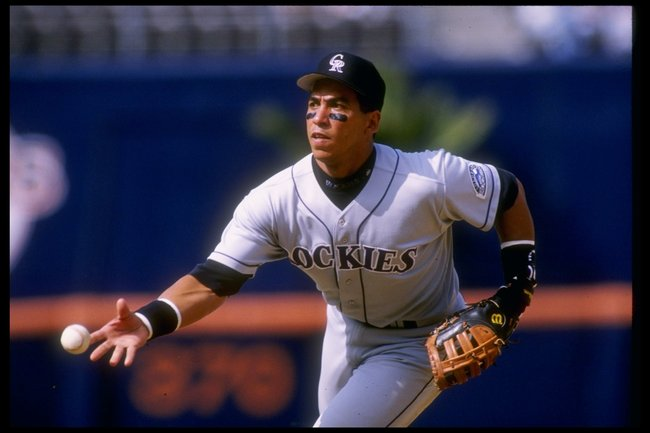 25 Jun 1995:  First baseman Andres Galarraga of the Colorado Rockies throws the ball during a game against the San Diego Padres at Jack Murphy Stadium in San Diego, California.  The Rockies won the game 11-4. Mandatory Credit: Stephen Dunn  /Allsport