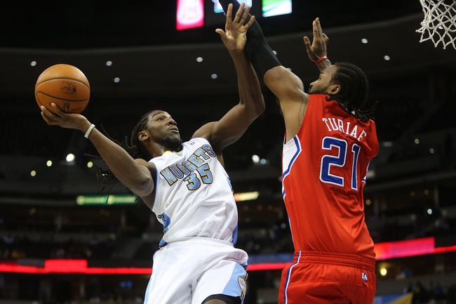 October 25, 2012; Denver, CO, USA; Denver Nuggets forward Kenneth Faried (35) drives to the basket during the second half against the Los Angeles Clippers  at the Pepsi Center.  The Clippers won 106-94.  Mandatory Credit: Chris Humphreys-US PRESSWIRE