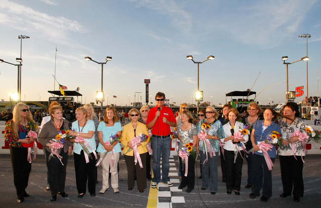 DARLINGTON, SC - MAY 08:  Team owner Micheal Waltrip stands with mothers of NASCAR drivers as they give the command 'Gentleman start your engines' during the NASCAR Sprint Cup series SHOWTIME Southern 500 at Darlington Raceway on May 8, 2010 in Darlington
