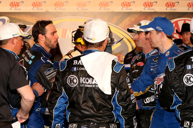 FORT WORTH, TX - NOVEMBER 04: Jimmie Johnson, driver of the #48 Lowe's Chevrolet, is congratulated by Brad Keselowski, driver of the #2 Miller Lite Dodge, in Victory Lane after winning the NASCAR Sprint Cup Series AAA Texas 500 at Texas Motor Speedway on