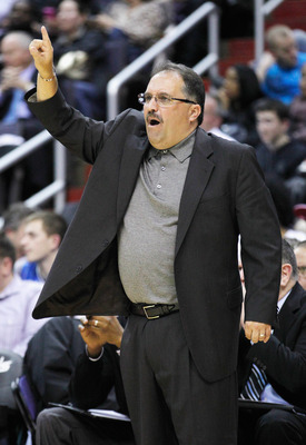 WASHINGTON, DC - FEBRUARY 29: Head coach Stan Van Gundy of the Orlando Magic motions to his team from the bench during the second half against the Washington Wizards at the Verizon Center on February 29, 2012 in Washington, DC. NOTE TO USER: User expressl