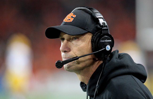 Nov 3, 2012; Corvallis, OR, USA; Oregon State Beavers head coach Mike Riley looks onto the field in the second half against the Arizona State Sun Devils at Reser Stadium. Mandatory Credit: Scott Olmos-US PRESSWIRE