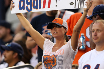 ARLINGTON, TX - OCTOBER 01:  A fan of the Chicago Bears supports her team against the Dallas Cowboys at Cowboys Stadium on October 1, 2012 in Arlington, Texas.  (Photo by Ronald Martinez/Getty Images)